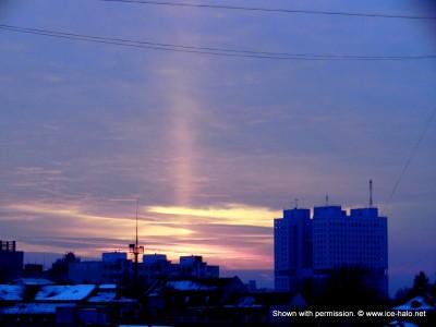 Световой столб в Калининграде