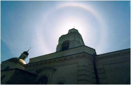 Круг света над храмом в Таганроге
