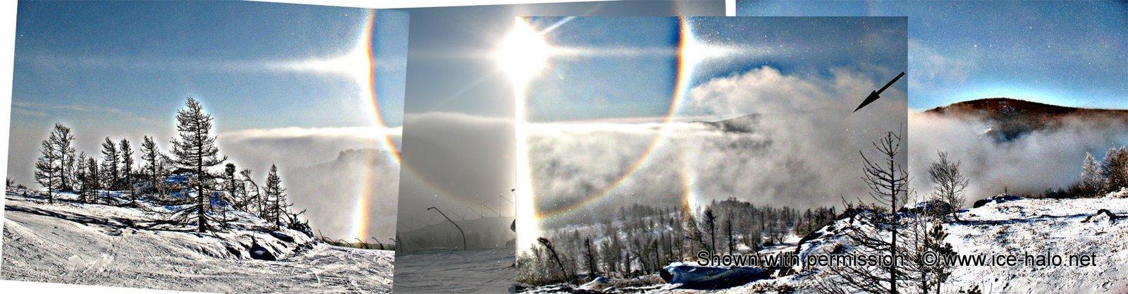 яркое гало, панорама наблюдения, якрие круги и кресты в небе